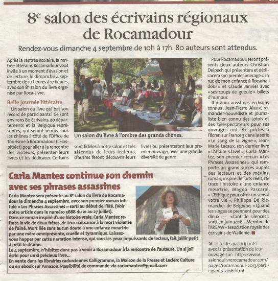 8eme salon des ecrivains regionaux de rocamadour la vie querc