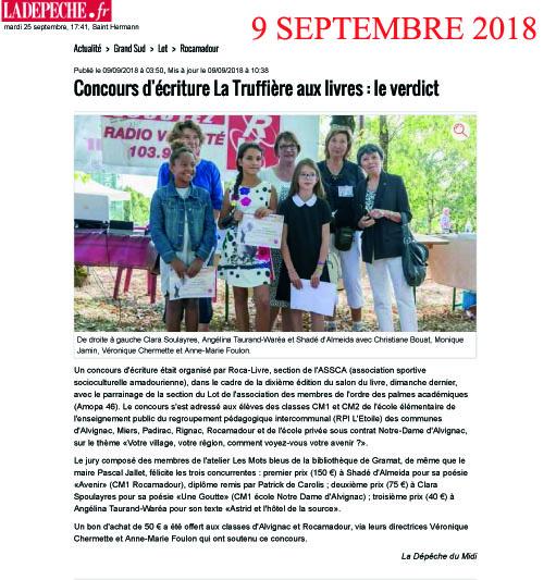 Concours d ecriture la depeche 09 09 20181