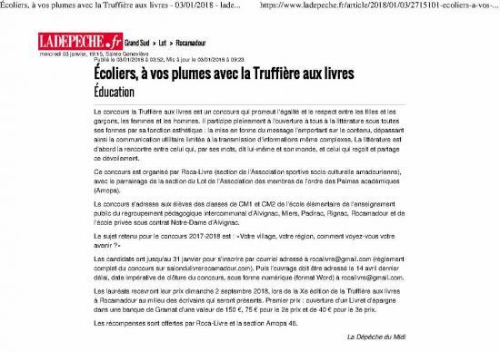 Ecoliers a vos plumes avec la truffiere aux livres 03 01 2018 ladepeche fr