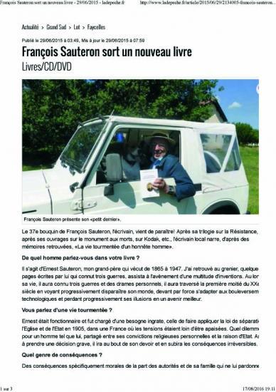 Francois sauteron sort un nouveau livre 29 06 2015 ladepeche