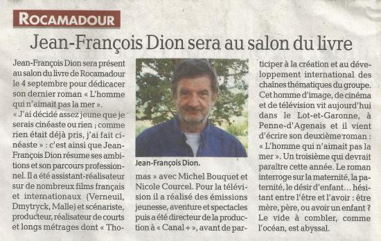 Jean francois dion sera au salon du livre la depeche du 05 05