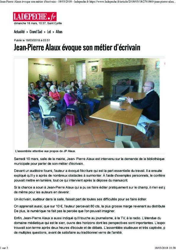 Jean pierre alaux evoque son metier d ecrivain 18 03 2018 ladepeche fr
