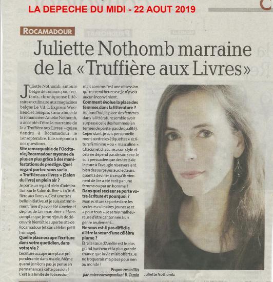 La depeche du midi 22 aout 2019 juliette nothomb copie