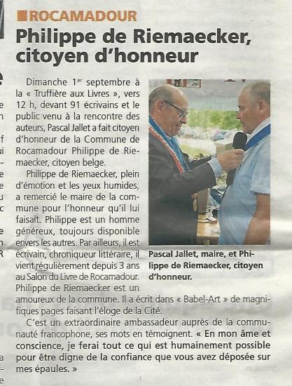 La vie quercynoise 12 09 2019 philippe de riemaecker citoyen d honneur