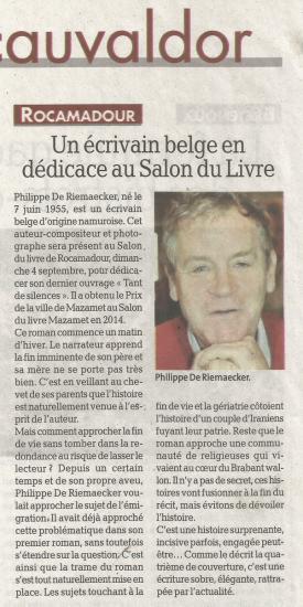 Un ecrivain belge en dedicace au salon du livre la depeche du