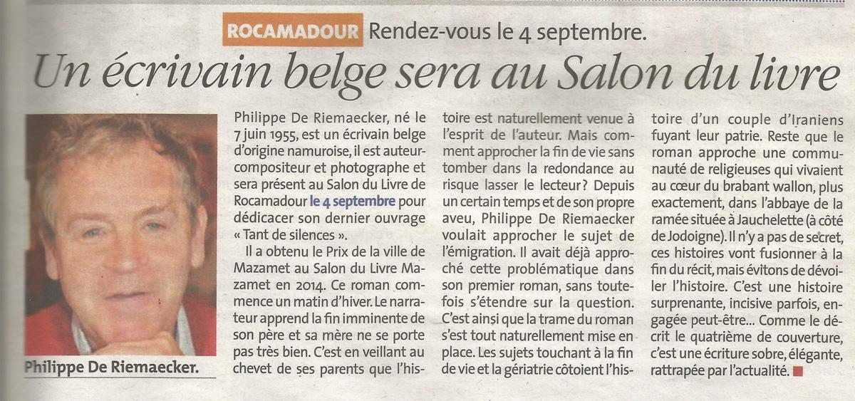 Un ecrivain belge sera au salon du livre la vie quercynoise d