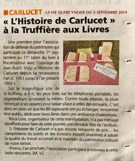 Vie quercynoise 05 09 2019 association protection du patrimoine carlucet
